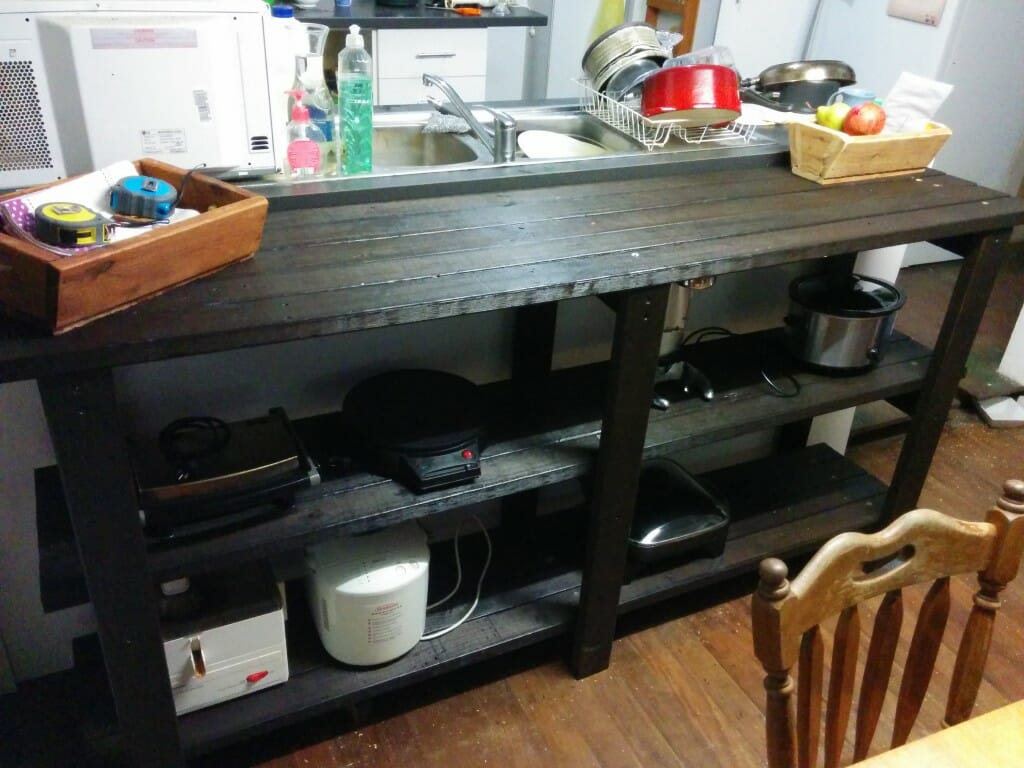 Panel Table with Kitchen Gadgets