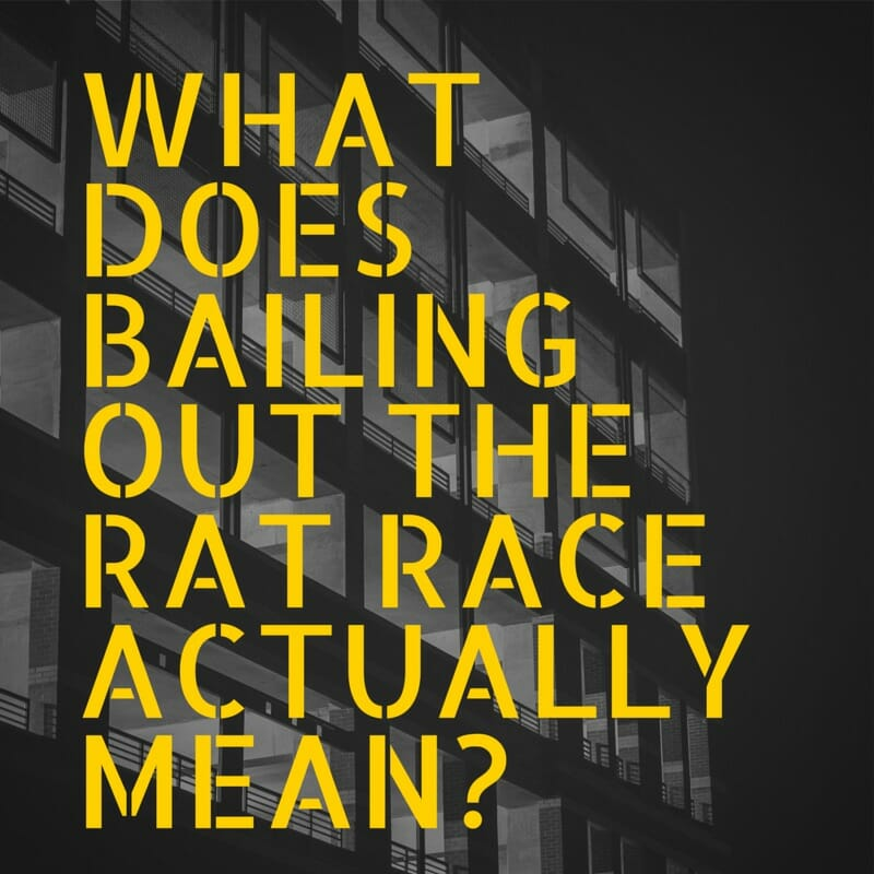 What does bailing out the rat race actually mean