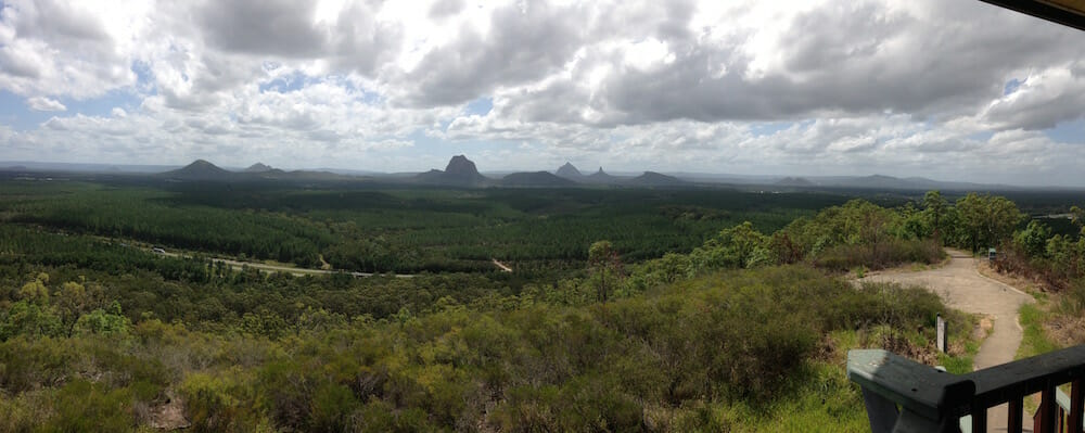 Glasshouse Mountains looking from White Horse Mountain